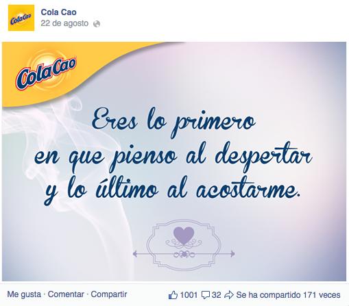 Mensaje de Cola Cao en Facebook