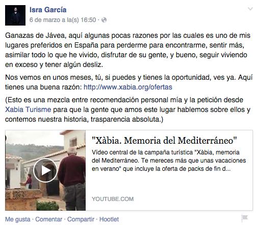 Influencer Isra García con Xàbia